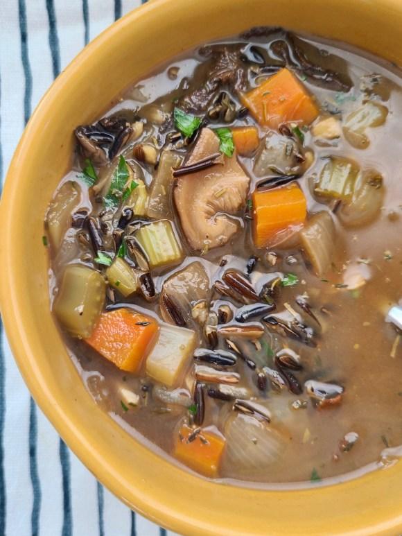 Vegan Mushroom Wild Rice Soup Recipe
