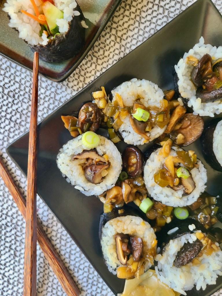 Vegan sushi with mushrooms