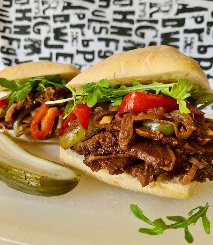 Easy recipe for vegan steak sandwich with peppers and onions