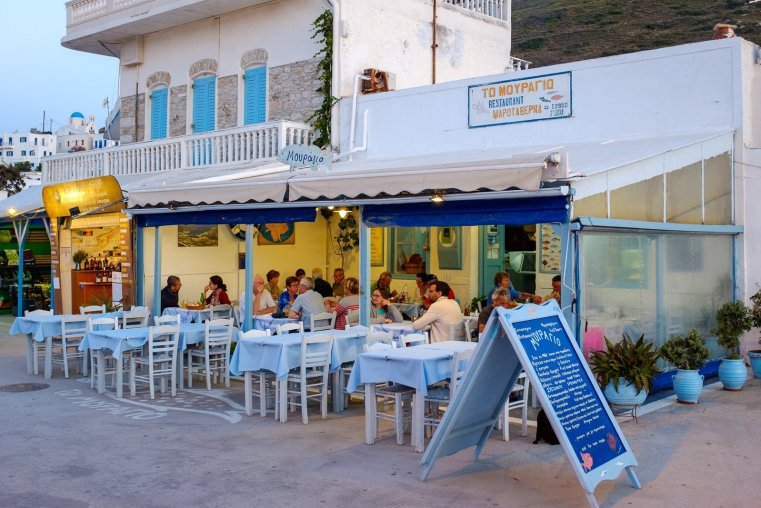 Taverna at Katapola, Amorgos, Cyclades, Greece