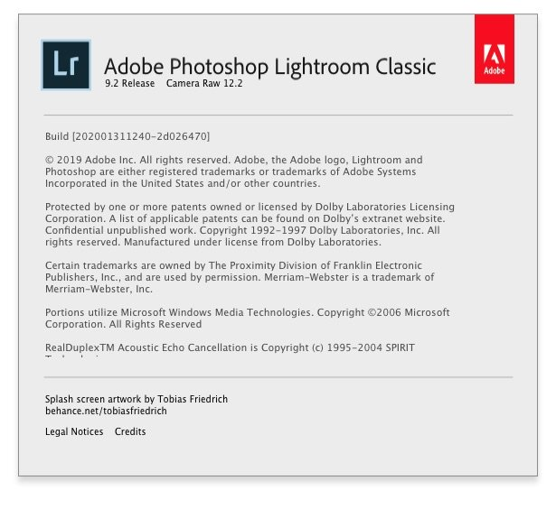 Adobe Photoshop Lightroom Classic about dialog