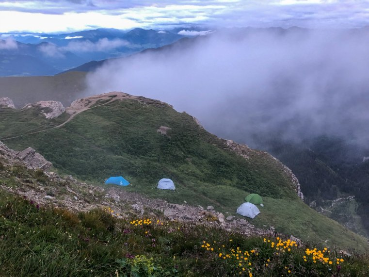Tents atop the Seceda