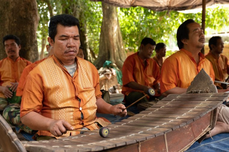Cambodian xylophone player