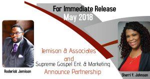 Jemison & Associates along with Supreme Gospel Entertainment & Marketing Announce Partnership