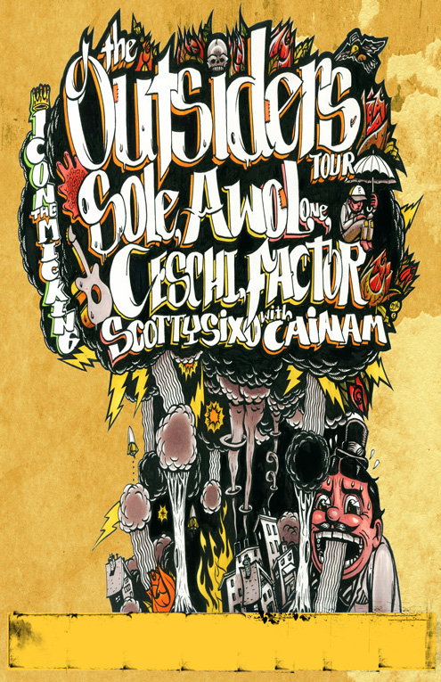 The Outsiders Tour: Sole, Awol One and Factor, Ceschi, iCON The Mic King, Cainam + ScottySix-O