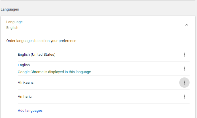List of available languages in chrome