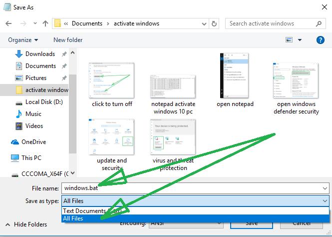 save .bat file activate windows