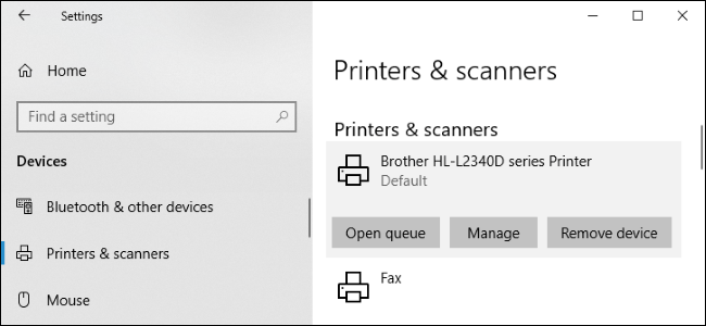 Manage printers and scanners