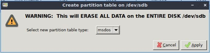 select msdos as partition table style