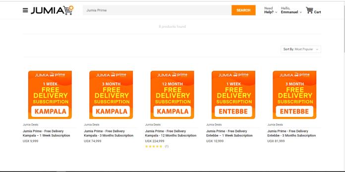 List of Jumia Prime subscription plans