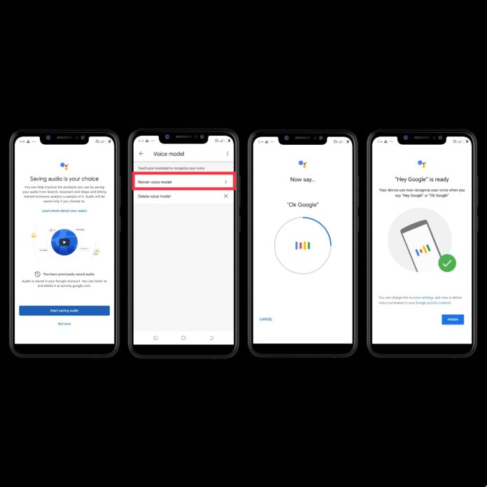 Image shows the step by step process on how to Enable Google Voice Match as a first step to enable Google Assistant to Read a Web Page out aloud.