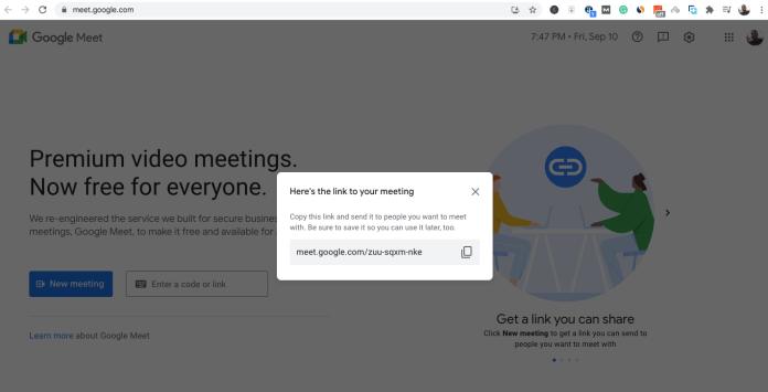 Starting a Google meeting