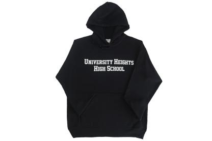 black hoodie with school name