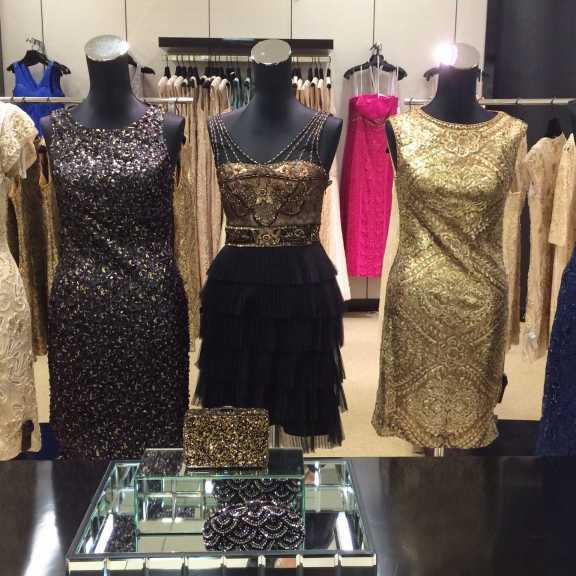 Whites, ivories, dark colors, metallic tones or blacks are good colors for a solid winter formal dress.