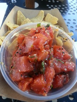 The poke can be eaten with chips, tacos, or burritos. (Denali Bollens)