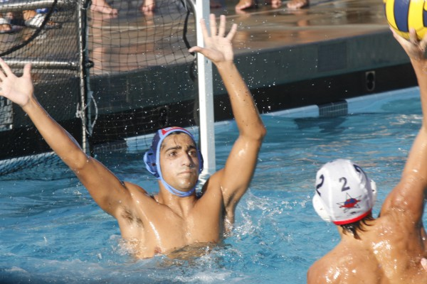 Kian Abolhoda (Sr.) prepares to block a shoot by a Beckman player. (Mahsa Mostaan)