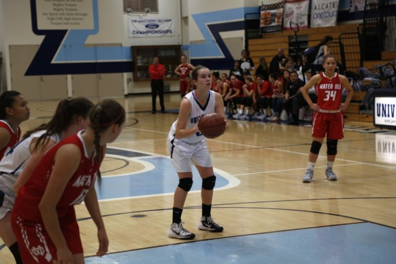 Allison Piper (Sr.) poises herself before a free throw attempt against Mater Dei. (Alex Novakovic)