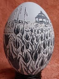 vinegar-etched emu eggs