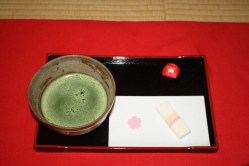 Japanese tea ceremony experience with matcha, sweets, and origami
