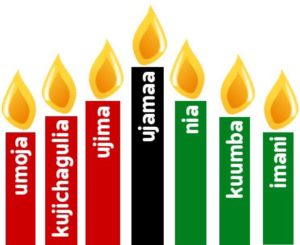 A Kinara holding the candles that emphasizes the seven principles of Kwanzaa.
