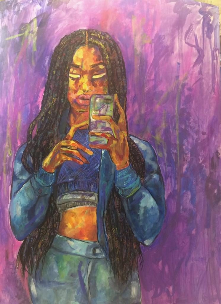 """""""My idea is about 'emotions of being ethnic' and each of my pieces have an emotion that correlate within the piece. I show the emotion through colors that I pick for the background represent each emotion."""""""