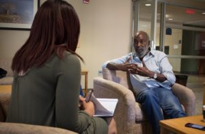 Editor-In-Chief, Sierra Allen interviewing David Robinson at Kent State University, Tuesday, Sept. 20. Photo by: Jermaine Jackson.