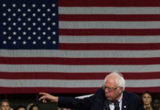 Sen. Bernie Sanders speaking at Kent State University, Saturday, Sept. 17.