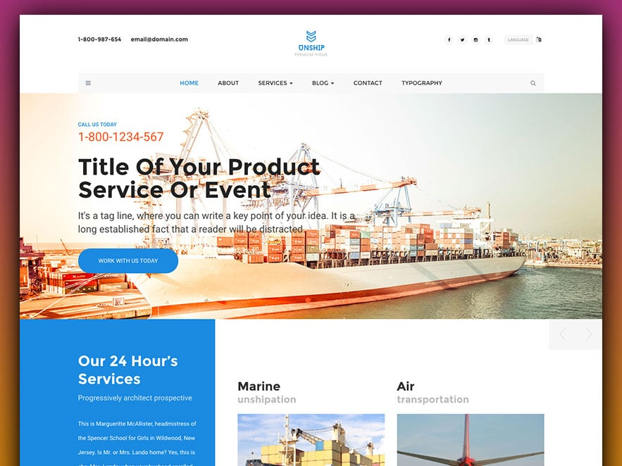 Unship Free Trucking Transportation Logistics Html