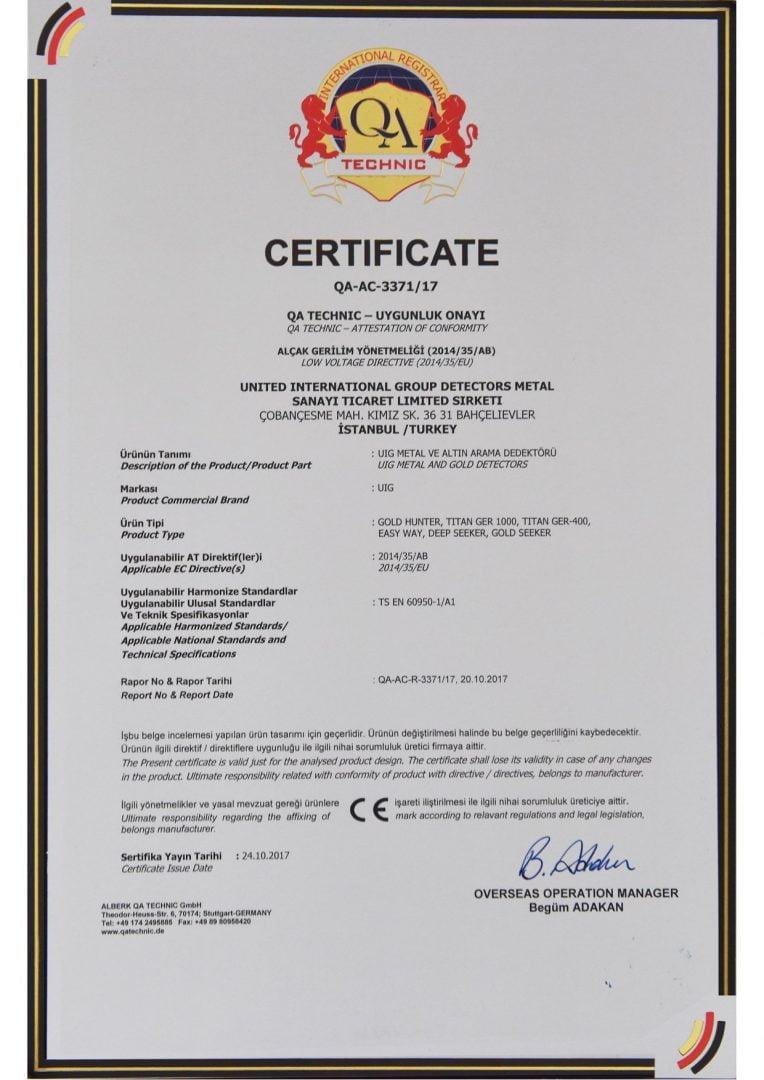 Ce Marking Certification Gold And Precious Metals Detectors