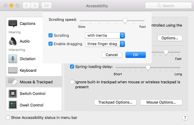 настройки мыши и трекпада на Mac