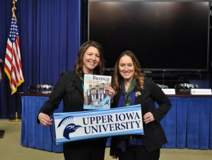 UIU staff members Hope Trainor and Crystal Cole (l-r) display their Peacock Pride before the Healthy Campus Challenge ceremony at the White House on Friday, January 13.