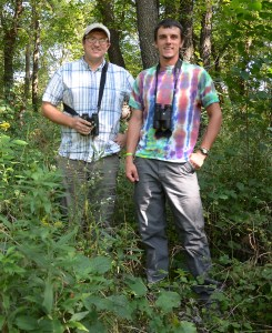 Assistant Professor of Biology Paul Skrade (left) and senior conservation management major Chase Grabau have utilized a $2,500 Wildlife Diversity research grant to study avian species of conservation concern, such as the Cerulean Warbler, Acadian Flycatcher, and Veery.