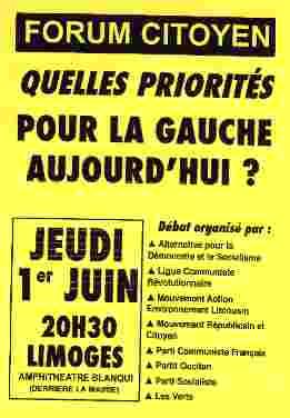 Quelles priorités pour la gauche aujourd'hui ? Limoges, 01/06/2006, 20h30