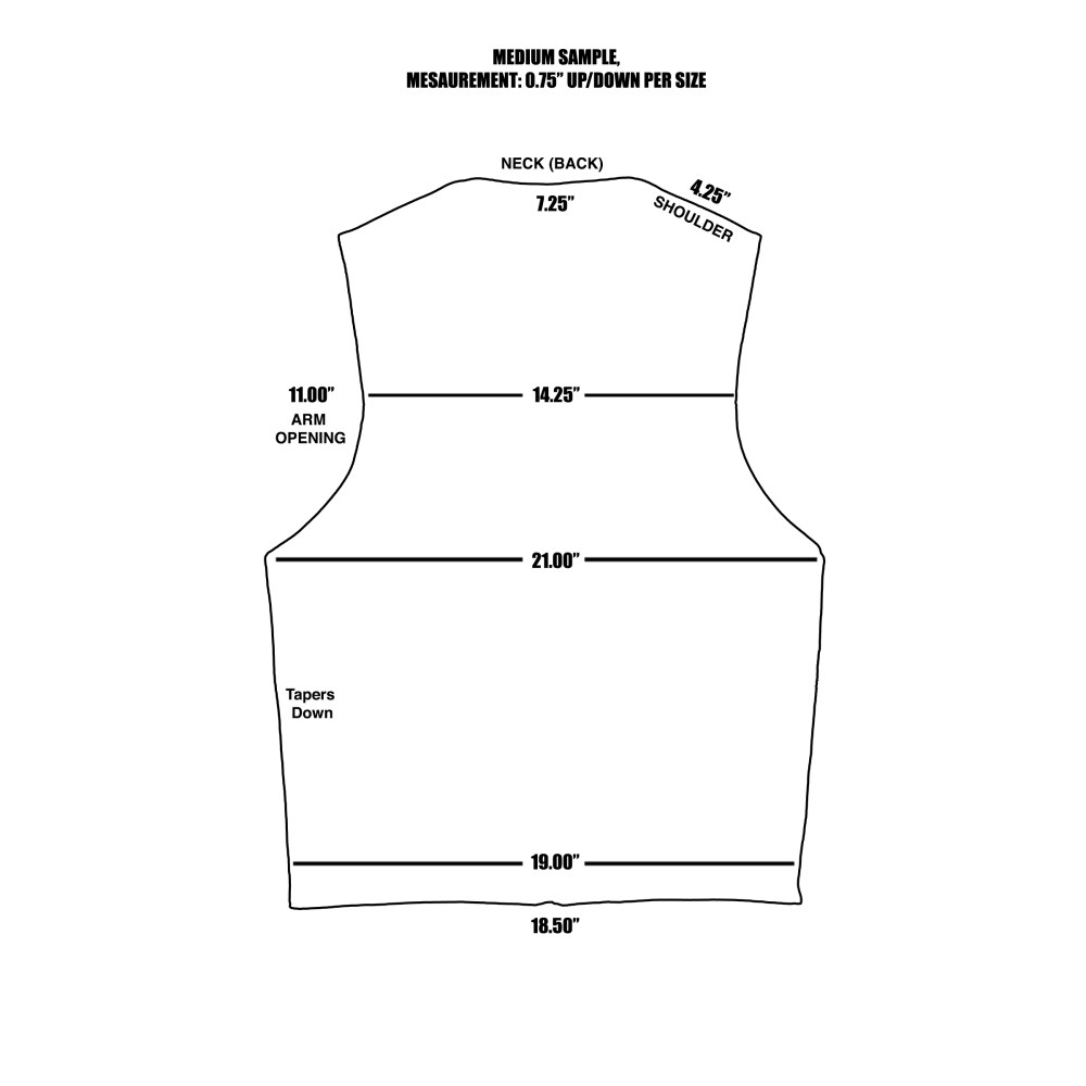 size chart vest back