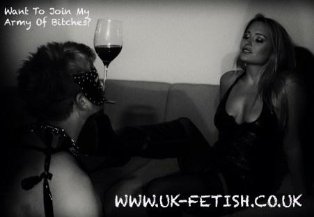Mistress Kaz Is Served Wine By A Slave