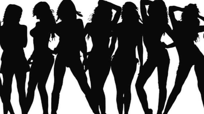 Silhouette group of ladies