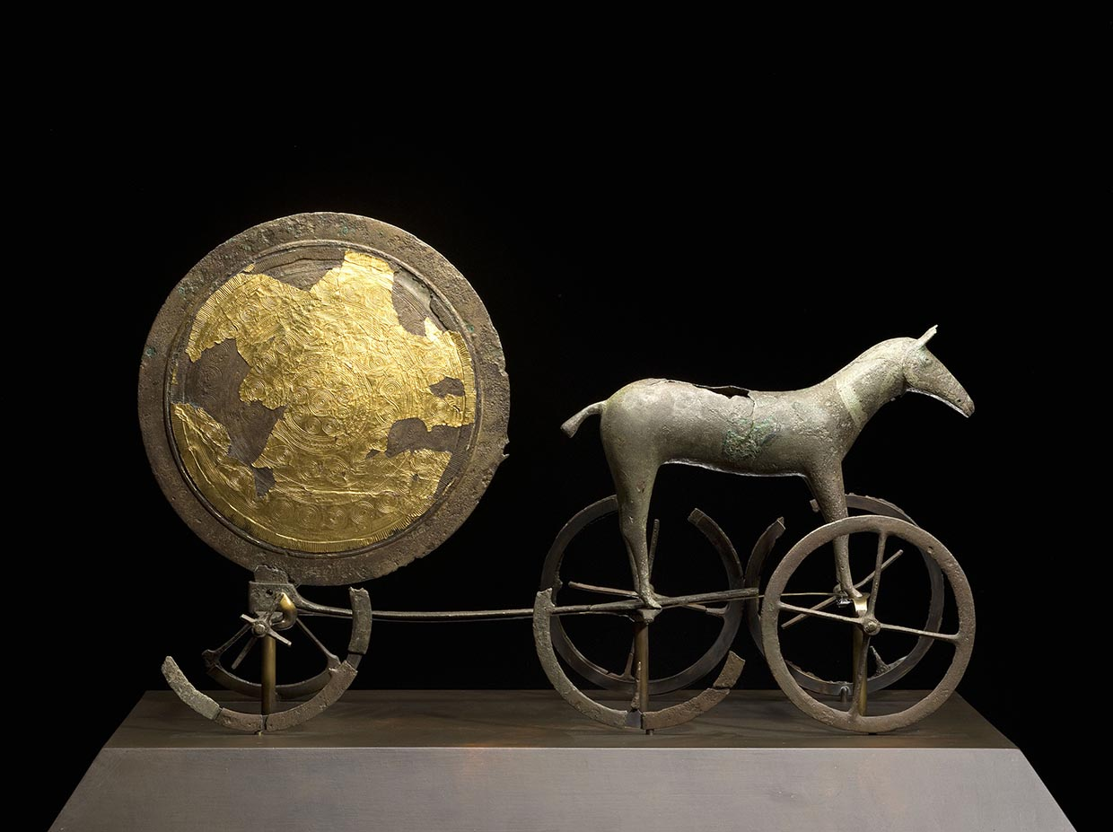 The Sun Chariot, c. 1400 BCE. National Museum of Denmark. Photo: Roberto Fortuna og Kira Ursem. The Sun Chariot is exhibited at ARKEN as a museum copy
