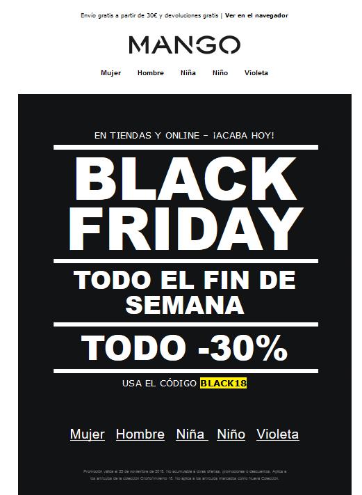Ejemplo email Mango Black Friday