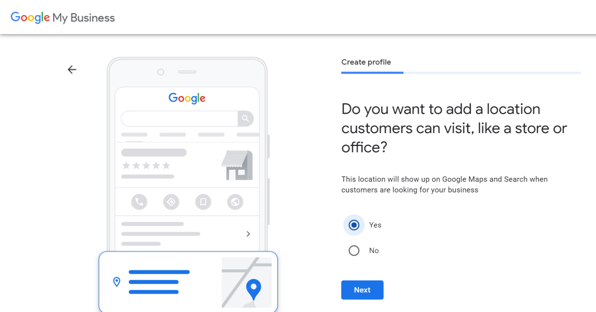 Confirming whether you want to add a location people can visit to Google My Business
