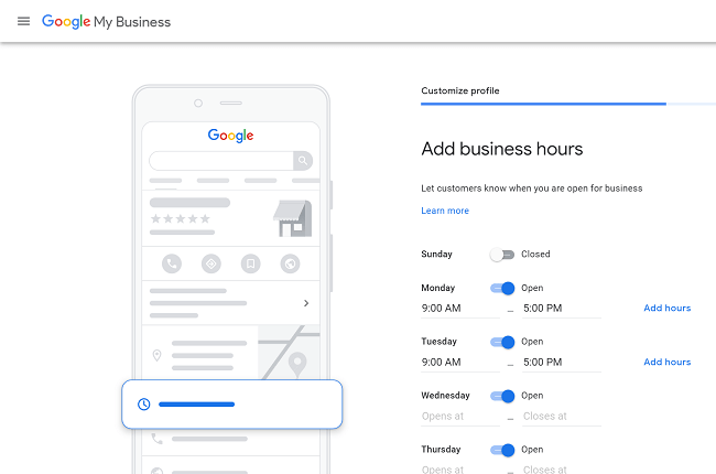 Adding opening times on Google My Business
