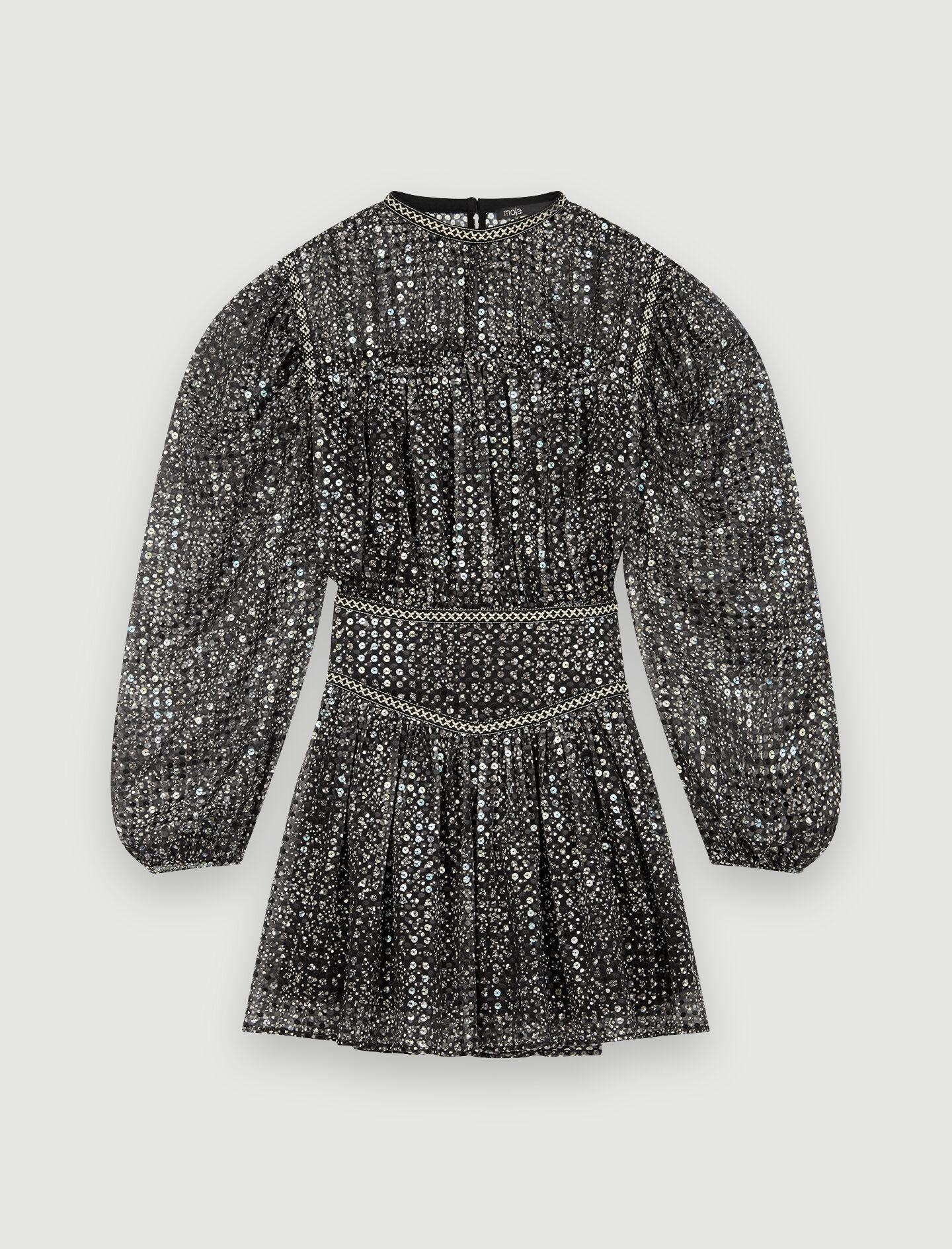 Short sequin dress : tout color Silver
