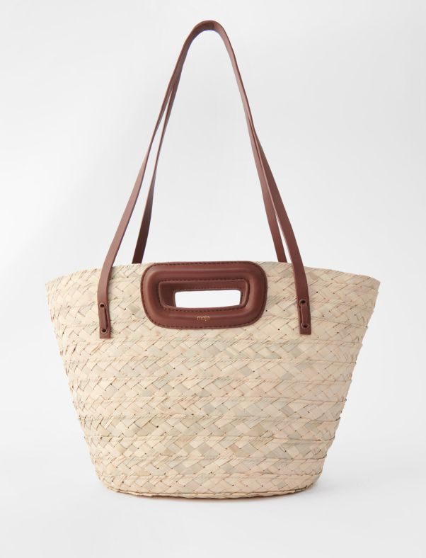 Basket bag in palm and leather -  - MAJE
