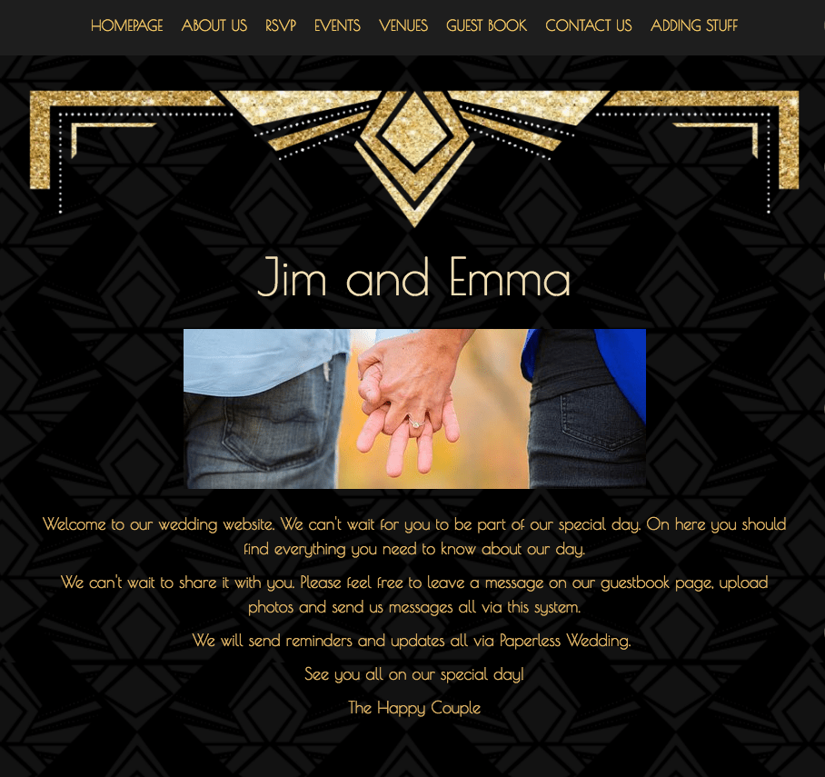 Art Deco Theme wedding website