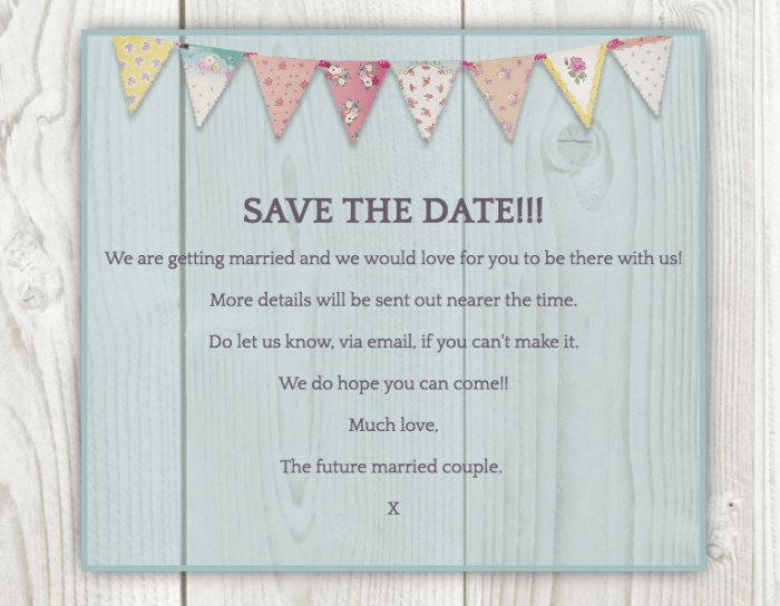 Email Save the date with bunting