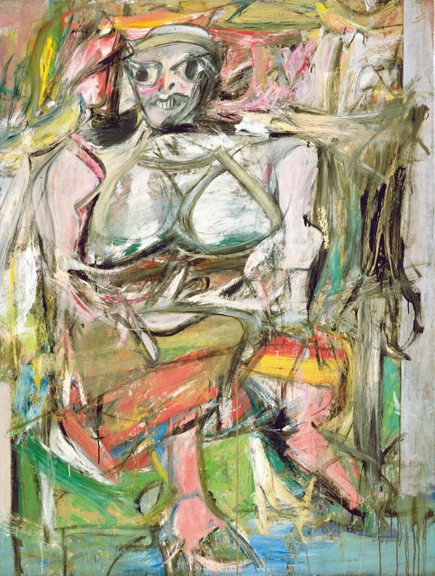 Woman I, (1950–2), oil, enamel and charcoal on canvas, 192.7 x 147.3 cm (75 x 58 in), The Museum of Modern Art, New York Artwork by Willem de Kooning © 2014 The Willem de Kooning Foundation/Artists Rights Society, (ARS), New York