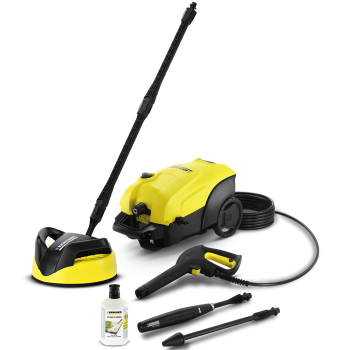 Karcher K4 Compact Home Pressure Washer with T-Racer Patio Cleaner 130 Bar 1800w