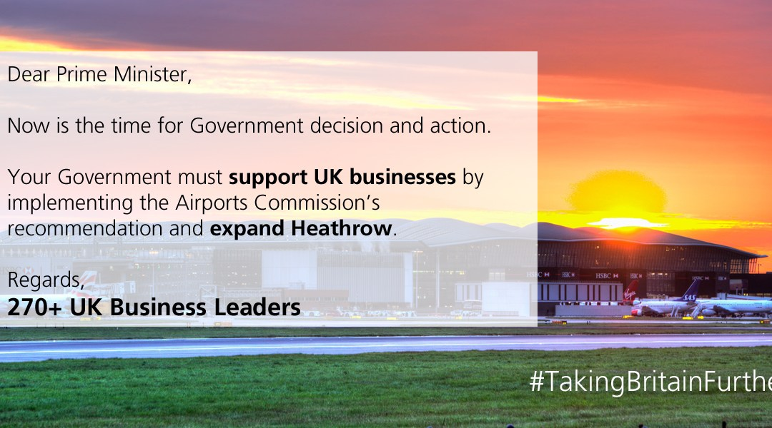 UKABC Along with Over 270 business leaders call on Prime Minister to back Heathrow expansion