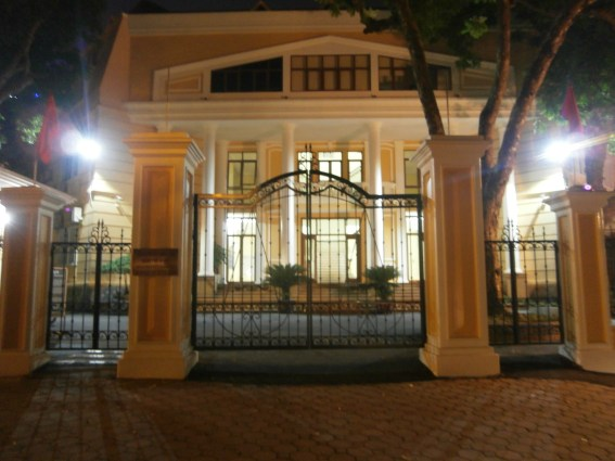 Another beautiful French building when we went for a walk at night
