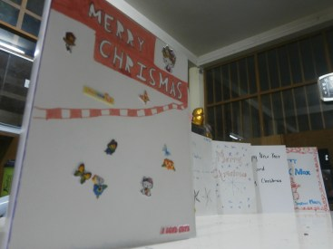 My Level 6 students' creative Christmas cards for the poor as one of their requirements in the class