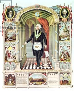 XZL151141 George Washington as a Freemason (litho) by American School, (19th century); Private Collection; (add.info.: Washington (1732-99); 1st President of United States;); American, out of copyright